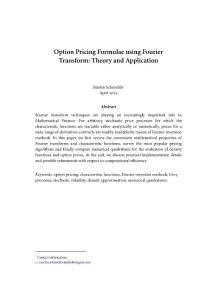 Option Pricing Formulae using Fourier Transform_Theory and Application