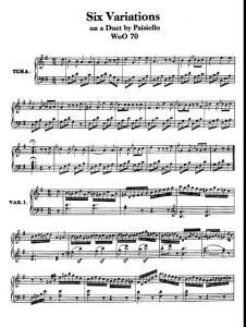 贝多芬G大调6首变奏曲PaisielloDuetWoO70