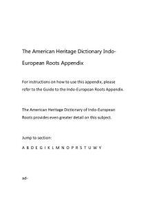 美国传统词典词根--The American Heritage Dictionary Indo-European and Semitic Roots Appendix