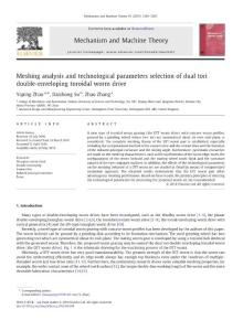 Meshing analysis and technological parameters selection of dual tori double-enveloping toroidal worm drive