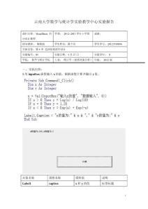 visual basic程序设计实验报告