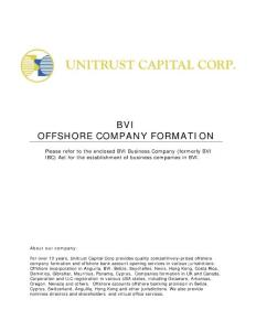 BVI OFFSHORE COMPANY FORMATION - Unitrust ...