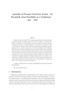 Optimality of Prompt Corrective Action with Recapitalization...