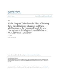 A Pilot Program To Evaluate the Effect of Training Table-Based...