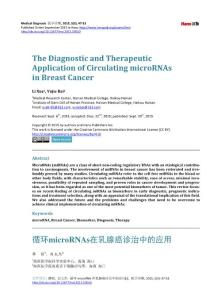 The Diagnostic and Therapeutic Application of Circulating microRNAs in Breast Cancer