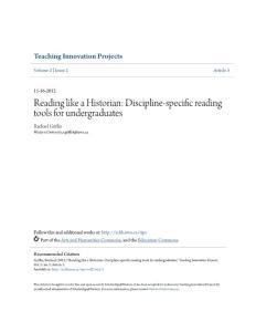 Reading like a Historian Discipline-specific reading tools...