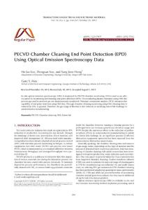PECVD Chamber Cleaning End Point Detection (EPD) Using Optical...