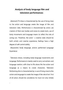 Analysis of body language film and television performances
