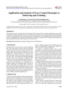 Application and Analysis of Force Control Strategies to Deburring and Grinding