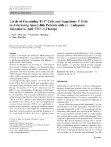 Levels of Circulating Th17 Cells and Regulatory T Cells in Ankylosing Spondylitis Patients with an Inadequate Response to Anti-TNF-alpha Therapy
