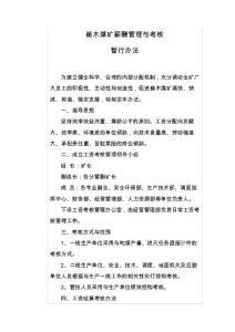 崔木煤矿薪酬管理与考核【最新资料】