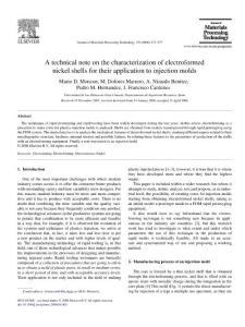A technical note on the__ characterization of electroformed nickel shells for their application to__ injection molds