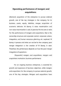 Operating performance of mergers and acquisitions