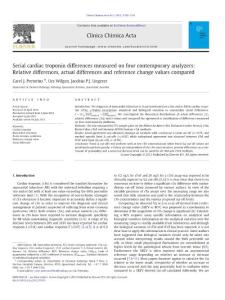 Serial cardiac troponin differences measured on four contemporary analyzers Relative differences  actual differences and reference change values compared