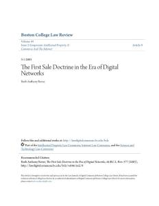 The First Sale Doctrine in the Era of Digital Networks