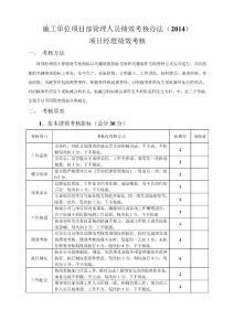 施工单位项目部管理人员绩效考核办法2014