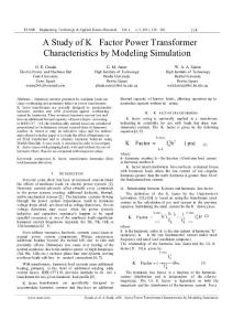 A Study of K- Factor Power Transformer Characteristics by Modeling Simulation