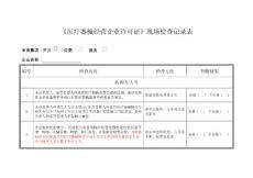 《医疗器械经营企业许可证》现场检查记录表