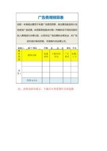 广告费用预算表1