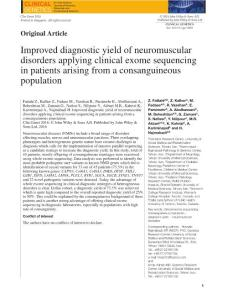 improved diagnostic yield of neuromuscular disorders applying clinical exome sequencing in patients arising from a consa.改善神经肌肉疾病诊断产生临床应用外显子组测序的病人因血缘的人
