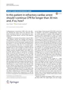 in this patient in refractory cardiac arrest should i continue cpr for longer than 30 min and if so how[2017][intensiv.我应该继续在耐火材料这个病人心脏骤停心肺复苏术超过30分钟