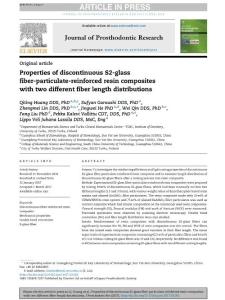 properties of discontinuous s2-glass fiber-particulate-reinforced resin composites with two different fiber length distributions.[2017][j prosthodont