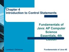 Chapter 4 Introduction to Control Statements4章介绍控制语句