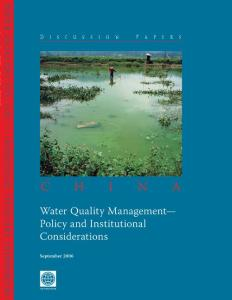 China Water Quality Management- Policy and Institutional Considerations