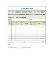 月度生产计划表