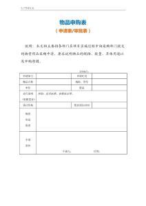 物品申购表(适合各部门一般物品)