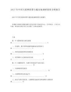 DOC-2017年中国互联网彩票专题市场调研投资分析报告