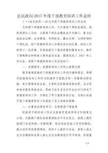 县民政局2017年度干部教育培训工作总结(范文)