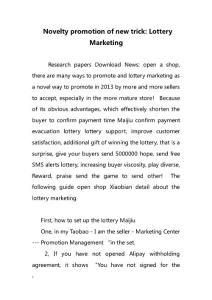 Novelty promotion of new trick- Lottery Marketing(新奇促进新的技巧u2014u2014彩票销售)