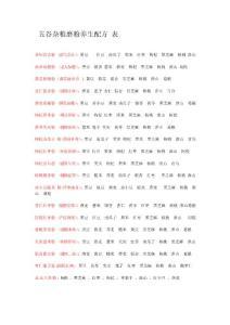 五谷杂粮磨粉养生配方表