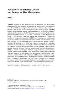Perspectives on Internal Control and Enterprise Risk Management