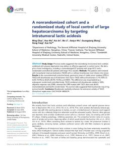 A nonrandomized cohort and a randomized study of local control of large hepatocarcinoma by targeting intratumoral lactic acidosis