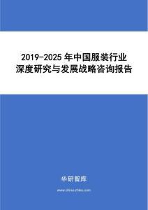 2019-2025年中国服装行业深度研究与发展战略咨询报告