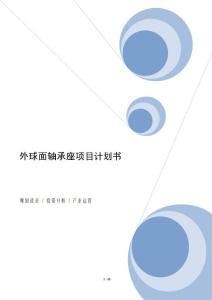 外球面轴承座项目计划书