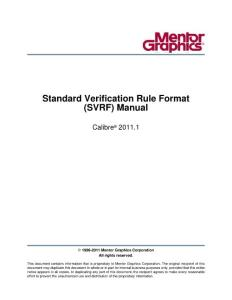 Standard Verification Rule Format Manual