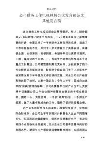 公司财务工作电视视频会议发言稿范文_其他发言稿