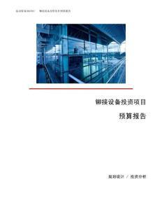 铆接设备投资项目预算报告