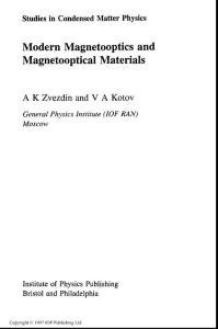 Modern Magnetooptics and Magnetooptical Materials
