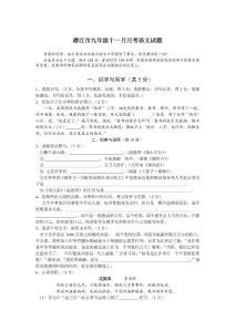 潜江九年级语文试题合集