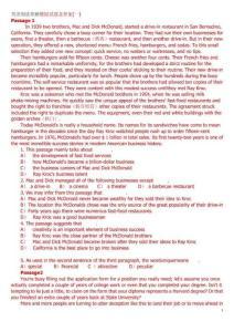 高一用英语阅读理解模拟试题及答案
