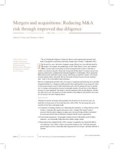 Mergers and acquisitions Reducing M