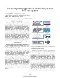 Actuarial Engineering Approaches For The Life Management of Power Plant Equipment