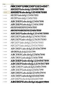 英文字体名称对照速查列表