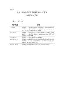 赣州市医疗保险计算机信息管理系统权限编制手册 - 赣州医疗保险网