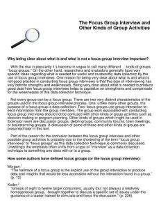 The Focus Group Interview and Other Kinds of Group Activities