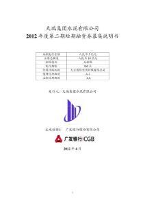 天瑞集团水泥有限公司2012 年度第二期短期融资券募集说明书